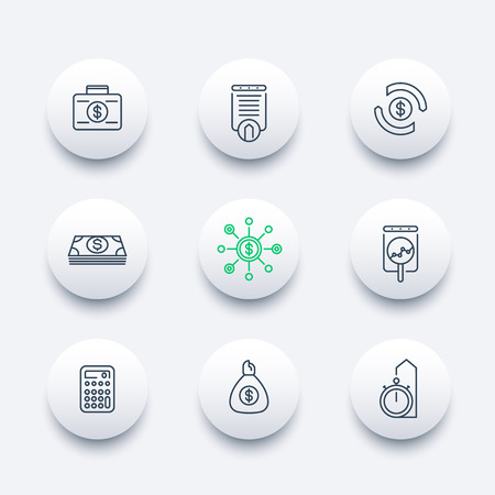 futures: finance, investments, investment analysis, line round modern icons, vector illustration