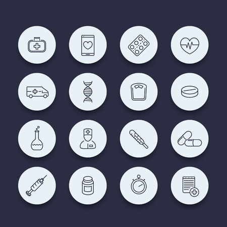preventive: medicine, health care, pharmaceutics line round icons, vector illustration Illustration