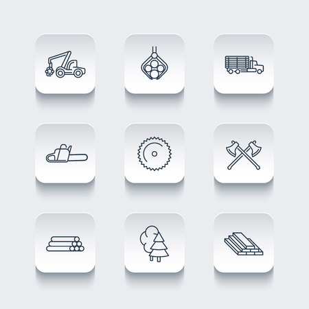 logging: Logging, timber, forestry, tree harvester, logging truck line icons, rounded square set, vector illustration