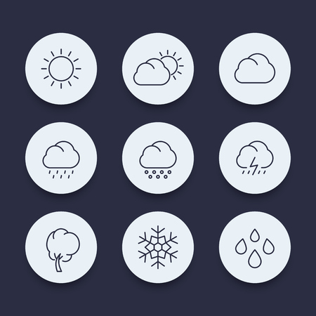 hail: Weather, sunny, cloudy day, rain, hail, snow, line round icons set, vector illustration
