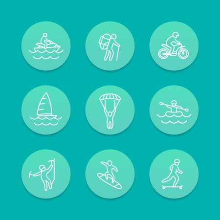 outdoor activities: extreme outdoor activities line aquamarine icons, vector illustration