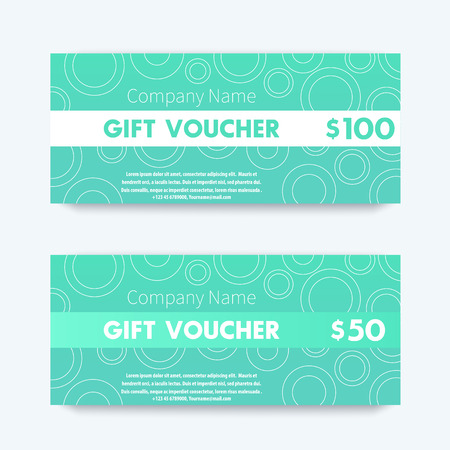 green card: Gift Voucher design, template in aquamarine, vector illustration