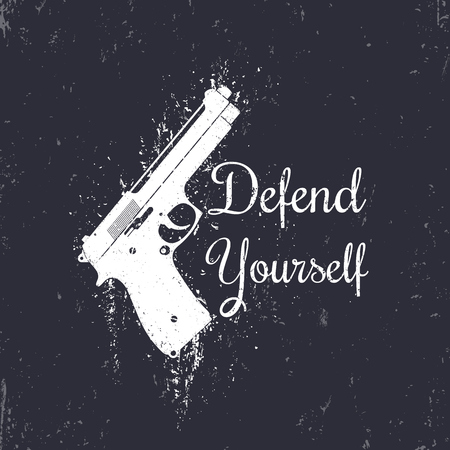 defend: Defend Yourself, grunge design with modern pistol, gun, t-shirt print, vector illustration