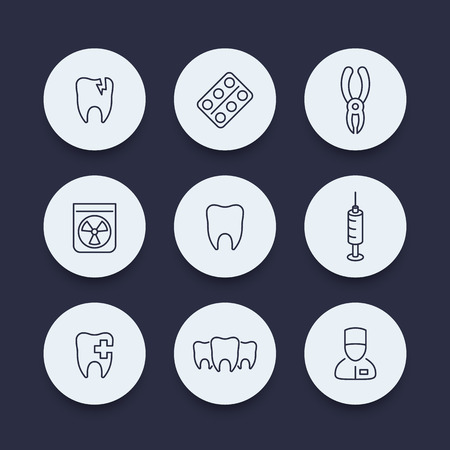 toothcare: Teeth, dental care, tooth cavity, stomatology, round icons, vector illustration