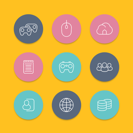 cooperative: videogames, cooperative, multiplayer, video console gaming, line round flat icons, vector illustration