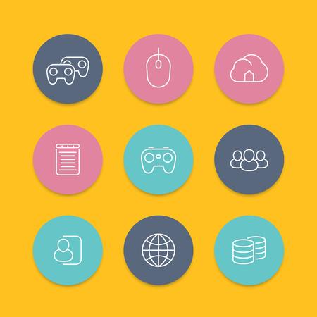 cooperativismo: videojuegos, cooperativo, multijugador, juegos de consola de video, l�nea de iconos planos redondos, ilustraci�n vectorial Vectores