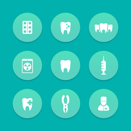 toothcare: Teeth aquamarine icons, dental care, tooth cavity, toothcare, stomatology, vector illustration