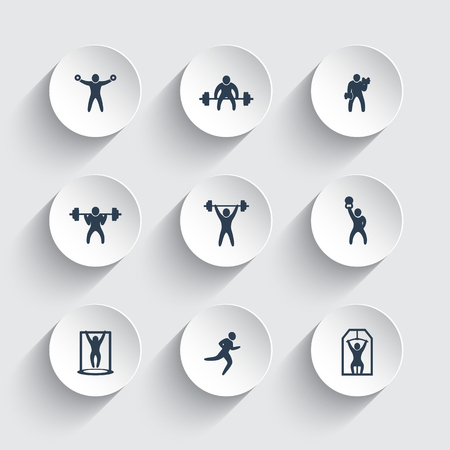 strong chin: Gym, fitness exercises, training icons on round 3d shapes, vector illustration