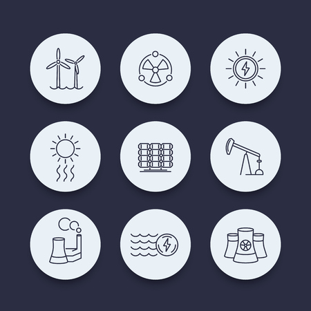 nuke plant: Power, energy production, energetics, solar, wind, nuclear energy, line round icons set, vector illustration