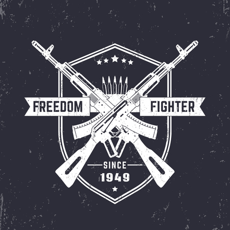 assault: Freedom fighter, vintage t-shirt design, print, with crossed assault rifles, guns, vector illustration Illustration