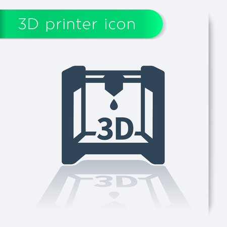 three dimension shape: 3D printer icon, vector illustration