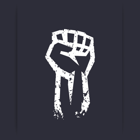 protest sign: Fist held high, protest sign, grunge white silhouette, vector illustration