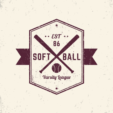 softball: Softball vintage grunge emblem, sign, t-shirt design, print, vector illustration Illustration