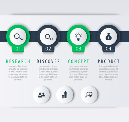 Product development, infographic elements, 1, 2, 3, 4, steps, timeline, labels, in green and blue, vector illustration