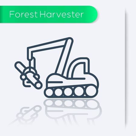 harvester: Forest harvester line icon, vector illustration