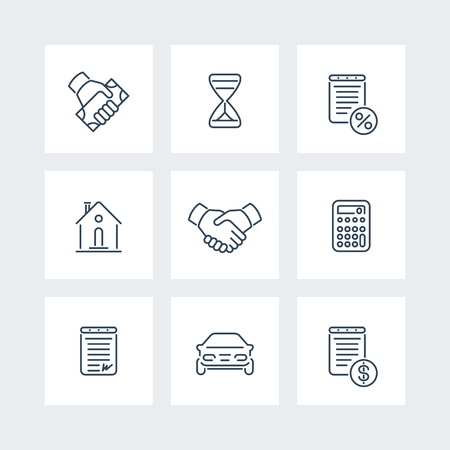 Leasing, banking, loan, deal, handshake line icons, vector illustration