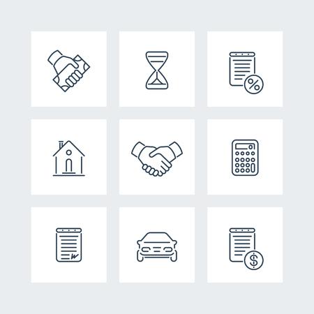 Leasing, banking, loan, deal, handshake line icons, vector illustration
