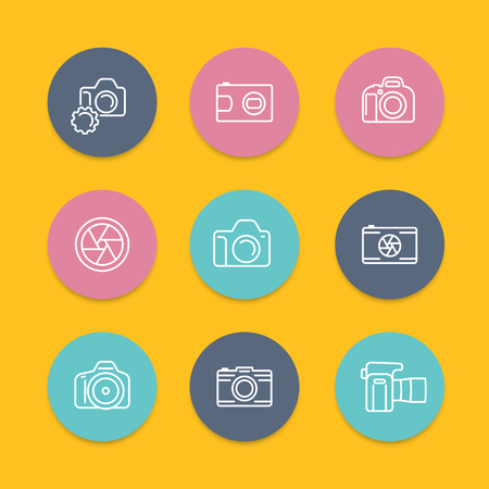 dslr: camera, dslr, aperture round linear icons set, vector illustration Illustration