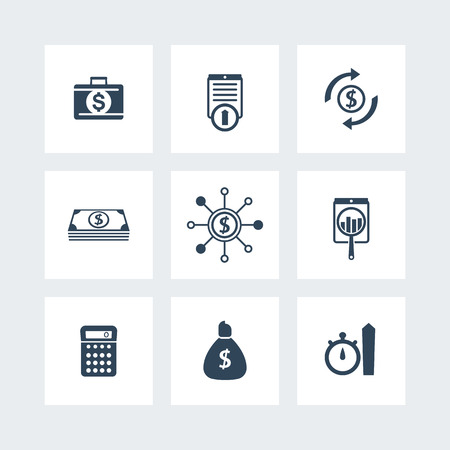 futures: finance, investments, hedge funds icons set, vector illustration Illustration
