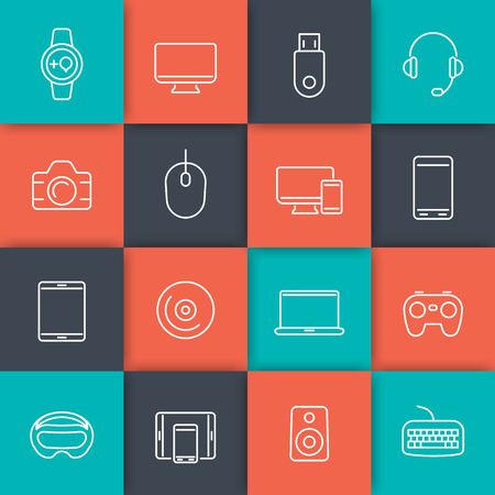 laptop computer: Modern gadgets line icons on squares, vector illustration