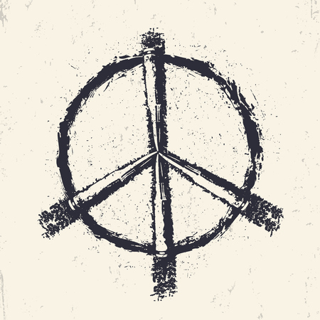dualistic: Grunge Peace sign, print with bullets, vector illustration Illustration