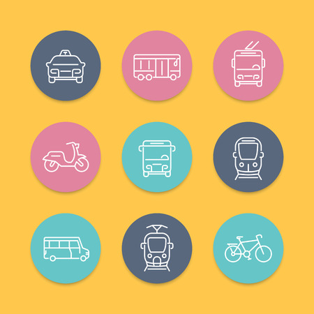 trolleybus: City transport, tram, train, bus, bike, taxi, trolleybus, linear round color icons, vector illustration