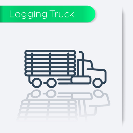 Logging Truck, Timber Lorry line icon, vector illustration
