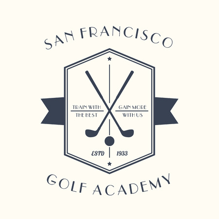 golf equipment: Golf Academy vintage, emblem with golf clubs, vector illustration Illustration