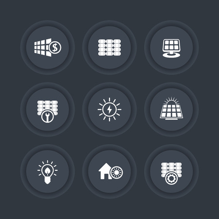 energetics: Solar energy, solar panels, alternative energetics, round dark icons, vector illustration