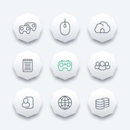 cooperativismo: videojuegos, cooperativo, multijugador, juegos, iconos oct�gono l�nea, ilustraci�n vectorial