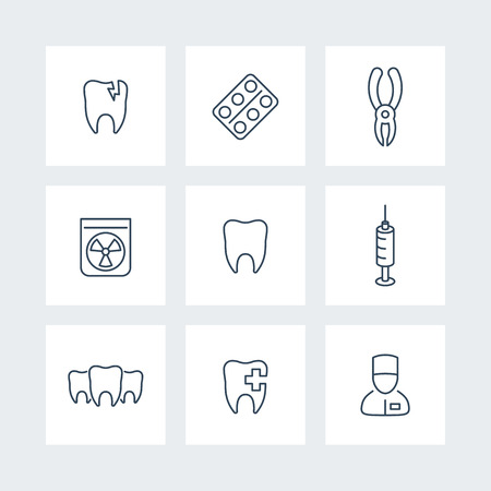 toothcare: Tooth, dental care, dental pliers, toothcare, stomatology, line icons, vector illustration