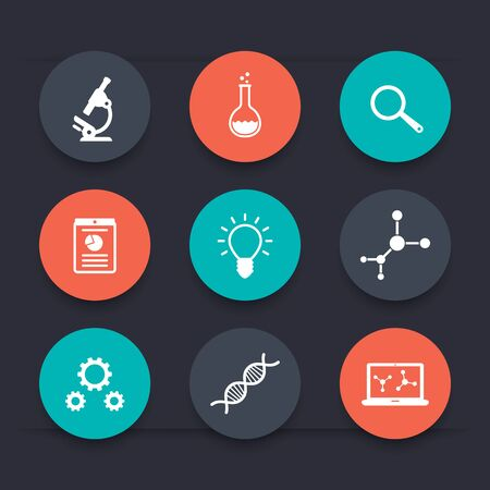 pharmaceutics: Science, research, laboratory, experiment round color icons, vector illustration