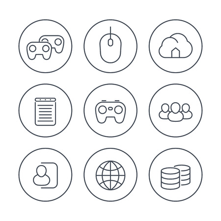 videogames, cooperative, multiplayer, gaming, line icons in circles, vector illustration Illustration