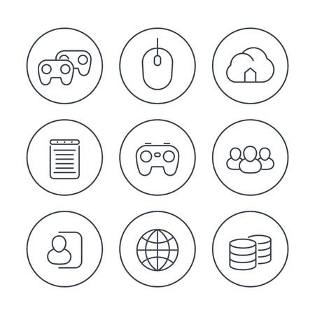 cooperativismo: videojuegos, cooperativo, multijugador, juegos, iconos de l�nea en c�rculos, ilustraci�n vectorial Vectores