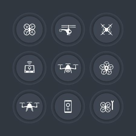 drones: Drones, Quadrocopter, Copters round dark icons, vector illustration