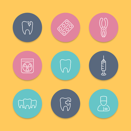 toothcare: Tooth, dental care, dental pliers, toothcare, stomatology, line round icons, line icons, vector illustration