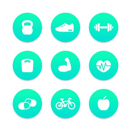 circular muscle: Fitness round icons, vector illustration Illustration