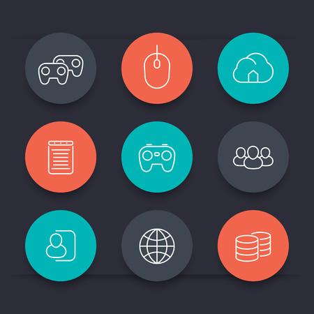 cooperativismo: videojuegos, cooperativo, multijugador, juegos de azar, la línea de iconos de color circulares, ilustración vectorial
