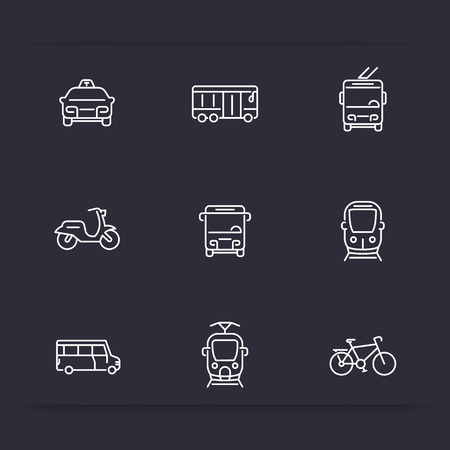 trolleybus: City transport, tram, train, bus, bike, taxi, trolleybus, linear icons, vector illustration