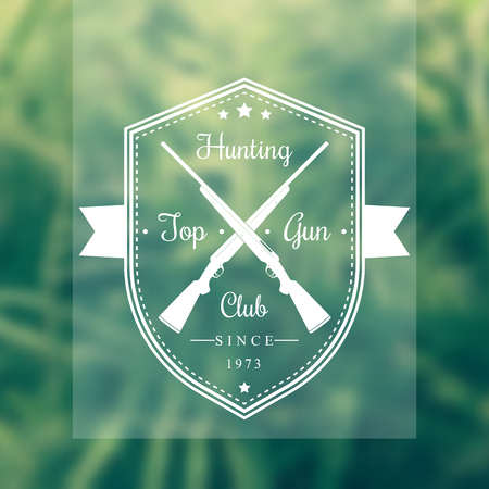 carbine: Hunting Club Vintage, Emblem on shield, vector illustration