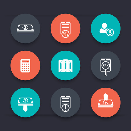 Bookkeeping, finance, payroll round color icons, vector illustration