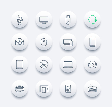 laptop mobile: Modern gadgets line round icons, vector illustration