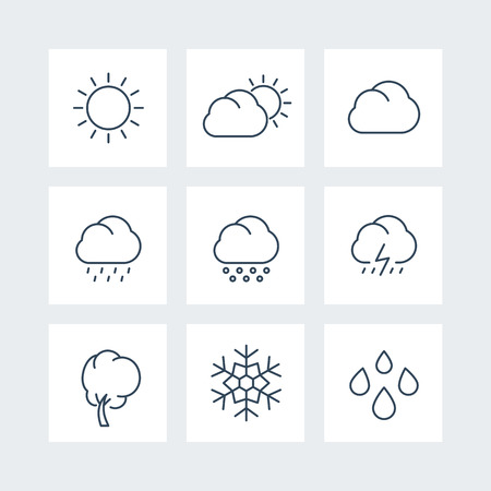 cloudy day: Weather line icons, sunny, cloudy day, rain, hail, snow, wind, vector illustration Illustration