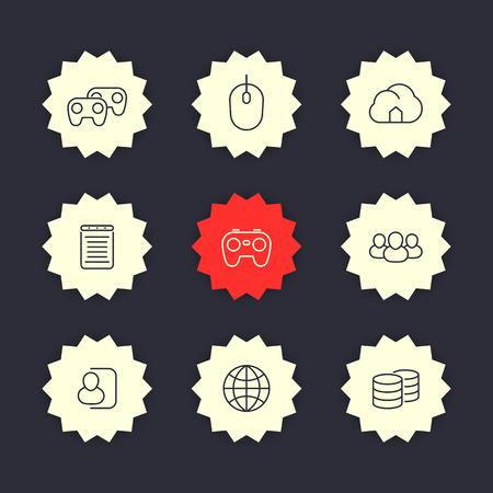 cooperativismo: videojuegos,, multijugador, iconos de líneas consola de juegos, la ilustración vectorial de cooperación