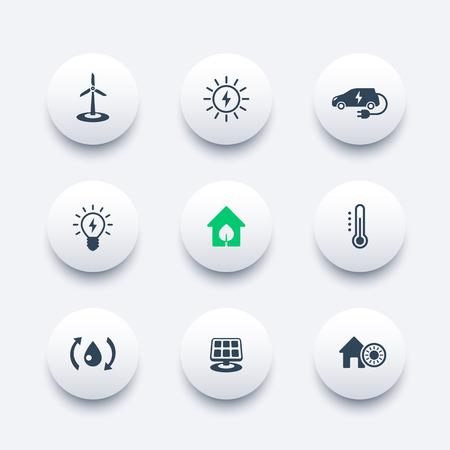source d eau: Maison écologique verte, technologies ecofriendly, économie d'énergie, icônes modernes rondes, illustration vectorielle
