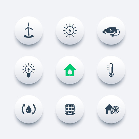 Green ecologic house, ecofriendly, energy saving technologies, round modern icons, vector illustration Illustration