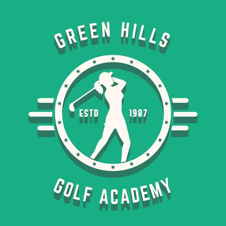 golfer swinging: Golf Academy vintage round design with girl golf player