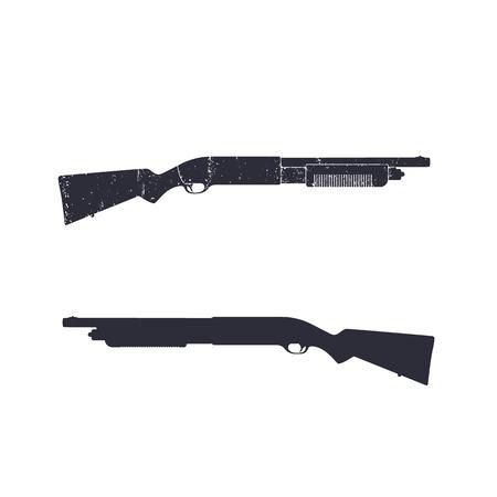 over white: Shotgun, hunting rifle, shotgun silhouette over white, vector illustration Illustration