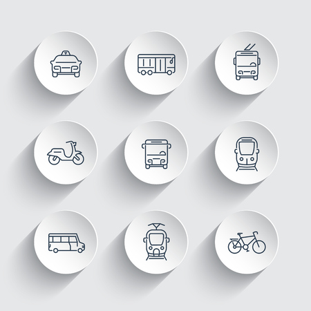 transport icons: City transport line icons on round 3d shapes, train, bus, taxi, trolleybus, subway, public transport, vector illustration