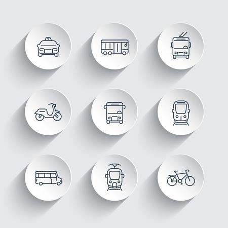 stadsvervoer lijn pictogrammen op ronde 3d vormen, trein, bus, taxi, trolleybus, metro, openbaar vervoer, vector illustratie